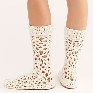 Free People Warm Wishes Crochet Slipper in Cream